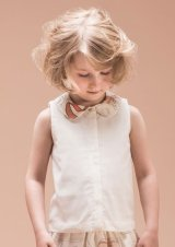 Hucklebones(ハックルボーンズ) Contrast Collar Shell Topシルク襟トップス(リボンプリント) 8歳10歳