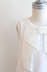 [SALE]Hucklebones(ハックルボーンズ) Lace Origami Bow Dress ホワイトレースドレス3歳98cm