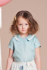 Hucklebones(ハックルボーンズ) Daisy Chain Blouseデイジーレースブラウス(アクア)6歳116cm