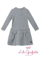 LiLi gaufrette(リリゴーフレット) LAMITIE CHINE Dress切替ワンピース(グレーラメ リボン付) 2歳3歳4歳