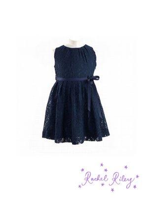画像1: Rachel Riley(レイチェル・ライリー)Lace Pleated Dressレースプリーツドレス(ネイビー) 4歳102cm