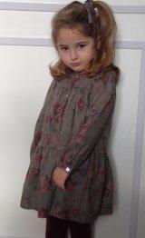 ROSE&THEO(ローズ・エ・テオ) カーキ花柄長袖ワンピース6歳8歳10歳