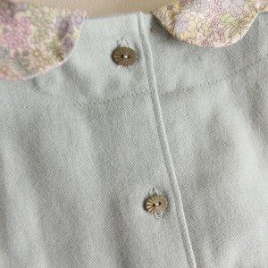 画像4: ハリトイト お花襟Aラインワンピ リバティ マーガレットアニー Margaret Annie付け襟(ペールグリーン)100-110cm