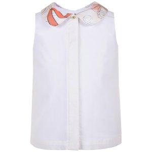 画像2: 【SALE!!30%オフ!!】Hucklebones(ハックルボーンズ) Contrast Collar Shell Topシルク襟トップス(リボンプリント) 10歳140cm