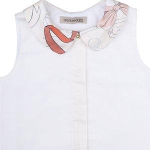 画像4: 【SALE!!30%オフ!!】Hucklebones(ハックルボーンズ) Contrast Collar Shell Topシルク襟トップス(リボンプリント) 3歳98cm