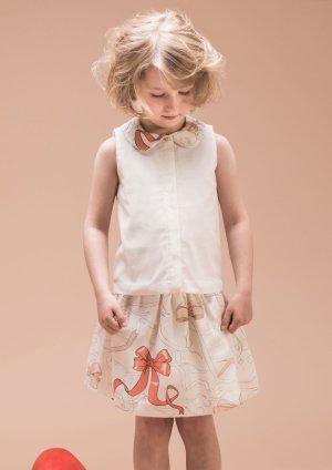 画像2: 【SALE!!30%オフ!!】Hucklebones(ハックルボーンズ) Printed Silk Gathered Skirt プリントシルクギャザースカート(リボンプリント) 10歳140cm