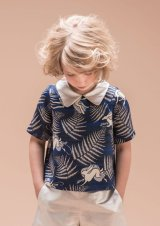 【SALE!!30%オフ!!】Hucklebones(ハックルボーンズ) Printed Satin Blouseプリントサテンブラス(ブルーラビット)  3歳4歳