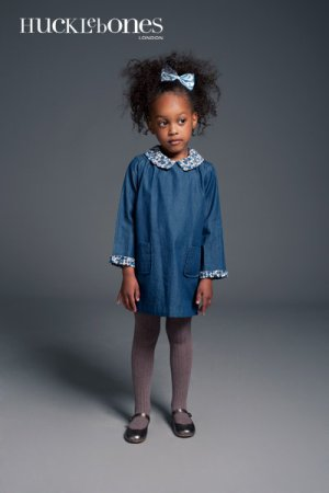 画像1: 【SALE!!30%オフ!!】Hucklebones(ハックルボーンズ) Shift Dress インディゴ×リバティ エリザズEliza's 4歳104cm