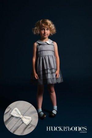 画像1: 【SALE!!30%オフ!!】Hucklebones(ハックルボーンズ) Pleated Bodice Dressシアーグレイストライプドレス 8歳10歳