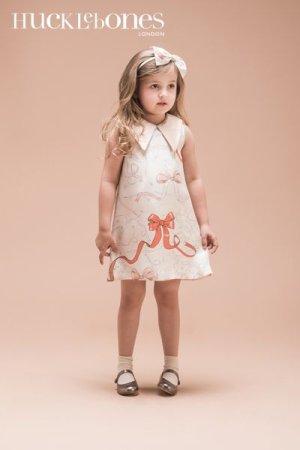 画像1: Hucklebones(ハックルボーンズ) Printed Silk Shift Dresssシルクプリントドレス(リボン)10歳140cm