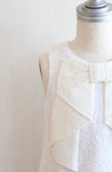 【SALE!!】Hucklebones(ハックルボーンズ) Lace Origami Bow Dress ホワイトレースドレス3歳98cm