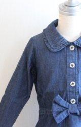 【SALE!!30%オフ!!】Hucklebones(ハックルボーンズ) Denim Short Dress デニムリボンショートドレス2歳92cm3歳98cm