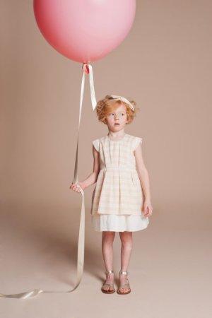 画像1: Hucklebones(ハックルボーンズ) Candy StripeTiered Bodice Dressキャンディーピンクドレス6歳116cm