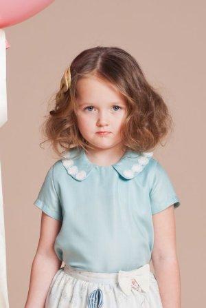 画像1: 【SALE!!30%オフ!!】Hucklebones(ハックルボーンズ) Daisy Chain Blouseデイジーレースブラウス(アクア)6歳116cm