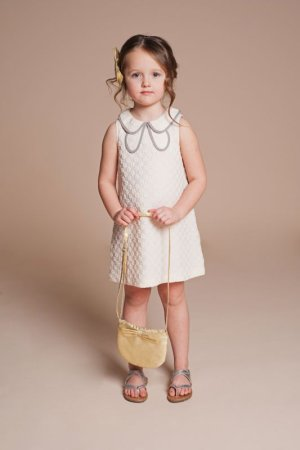 画像1: 【SALE!!30%オフ!!】Hucklebones(ハックルボーンズ) Shift Dress 花びらドレス(オフホワイト)8歳128cm