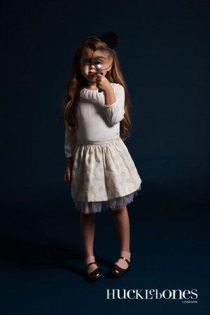 画像2: 【SALE!!30%オフ!!】Hucklebones(ハックルボーンズ) Buttercup Gathered Skirt バターカップギャザースカート(ベージュ) 2歳3歳