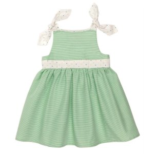 画像2: 【SALE!!50%OFF!!】 Je suis en CP!(ジュスィザンセーペー) Nouette Dress肩リボンドレス(グリーンストライプ)  18か月75-81cm