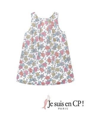 画像1: 【SALE!!30%OFF!!】 Je suis en CP!(ジュスィザンセーペー) Lucile Dressルシルドレス(リバティプリント ハイドレンジャ Cream Hydrangeas) 8歳122-128cm