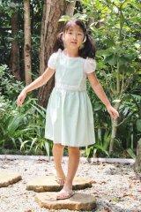 【SALE!!50%OFF!!】 Je suis en CP!(ジュスィザンセーペー) Nouette Dress肩リボンドレス(グリーンストライプ)  18か月75-81cm
