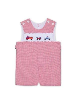 画像1: 【JiJiオリジナル】【ボーイズオーバーオール】 働く車のスモッキング刺繍 6か月12か月1歳