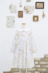 【JiJiオリジナル】 リバティプリント ワイドカラー長袖ワンピース (Irmaイルマ) 2歳-8歳