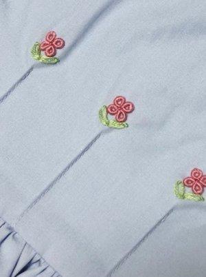 画像4: 【JiJiオリジナル】 バリオンフラワーの切替ワンピース(ペールブルー) 5歳6歳7歳8歳