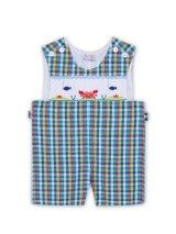 【JiJiオリジナル】【ボーイズオーバーオール】 アンダー・ザ・シーのスモッキング刺繍 12か月1歳