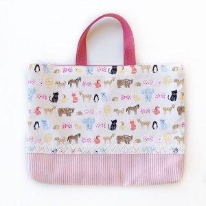 画像1: レッスンバッグ(基本サイズ) 動物プリント 通園バッグ・絵本バッグ・手提げ袋