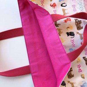 画像3: レッスンバッグ(基本サイズ) 動物プリント 通園バッグ・絵本バッグ・手提げ袋