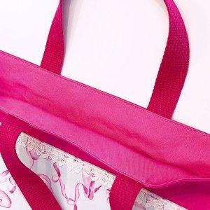 画像2: レッスンバッグ(基本サイズ) バレエシューズプリント 通園バッグ・絵本バッグ・手提げ袋