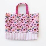 レッスンバッグ(基本サイズ) カップケーキプリント 通園バッグ・絵本バッグ・手提げ袋