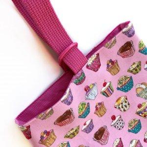 画像2: シューズバッグ(基本サイズ) カップケーキプリント 靴入れ・上履き入れ
