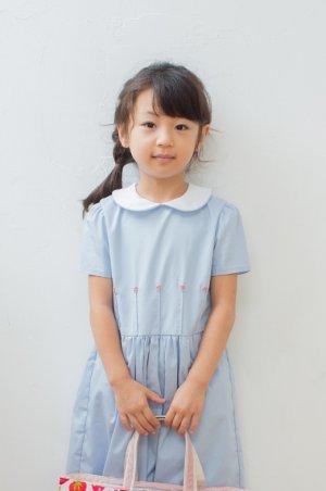 画像1: 【JiJiオリジナル】 バリオンフラワーの切替ワンピース(ペールブルー) 5歳6歳7歳8歳