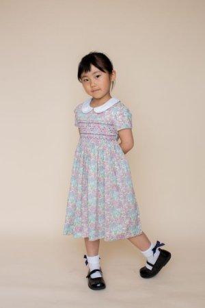 画像1: 【JiJiオリジナル】リバティプリント スモッキングワンピース (Tomトム)6歳-8歳