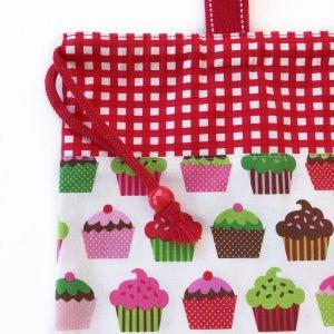 画像4: 体操服入れバッグ(基本サイズ) レッドチェックカップケーキプリント