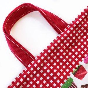 画像2: 体操服入れバッグ(基本サイズ) レッドチェックカップケーキプリント