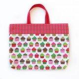 レッスンバッグ(基本サイズ) レッドチェックカップケーキプリント 通園バッグ・絵本バッグ・手提げ袋