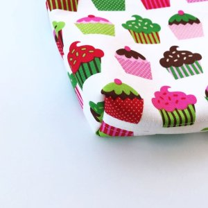 画像4: レッスンバッグ(基本サイズ) レッドチェックカップケーキプリント 通園バッグ・絵本バッグ・手提げ袋