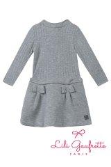 【SALE!!30%OFF!!】 LiLi gaufrette(リリゴーフレット) LAMITIE CHINE Dress切替ワンピース(グレーラメ リボン付) 2歳3歳4歳