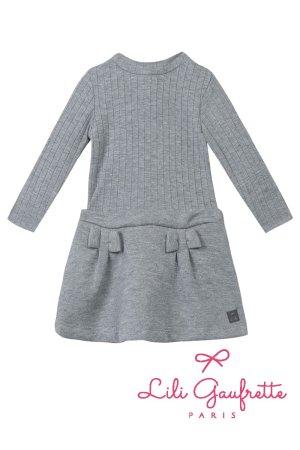 画像1: 【SALE!!30%OFF!!】 LiLi gaufrette(リリゴーフレット) LAMITIE CHINE Dress切替ワンピース(グレーラメ リボン付) 2歳3歳4歳