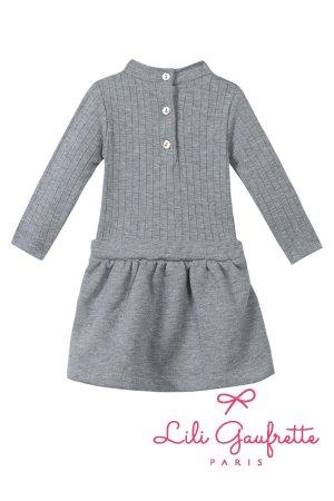 画像2: 【SALE!!30%OFF!!】 LiLi gaufrette(リリゴーフレット) LAMITIE CHINE Dress切替ワンピース(グレーラメ リボン付) 2歳3歳4歳