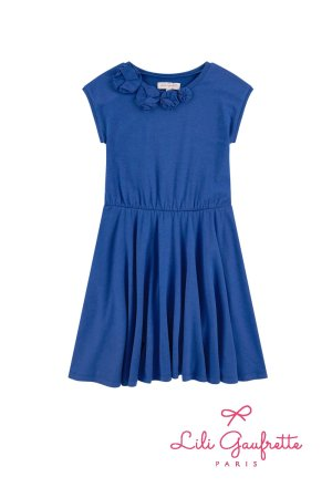画像2: 【SALE!!30%OFF!!】 LiLi gaufrette(リリゴーフレット) LIA Dressジャージ素材ワンピース(コバルトブルー) 4歳104cm