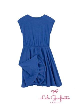 画像3: 【SALE!!30%OFF!!】 LiLi gaufrette(リリゴーフレット) LIA Dressジャージ素材ワンピース(コバルトブルー) 4歳104cm