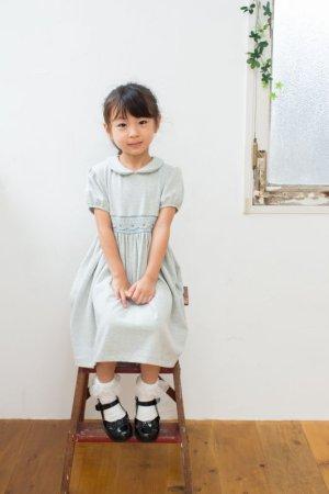 画像1: Malvi&Co.(マルヴィ) ジャージ秋冬素材 幾何学スモッキングワンピース(グレー) 4歳6歳
