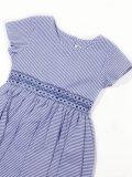 Malvi&Co.(マルヴィ) サッカー素材半袖スモッキングワンピース(ブルー) 4歳〜10歳