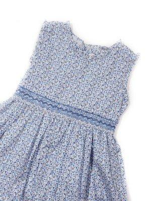画像1: Malvi&Co.(マルヴィ) 小花柄スモッキングワンピース(ブルー) 6歳〜10歳