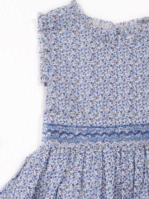 画像2: Malvi&Co.(マルヴィ) 小花柄スモッキングワンピース(ブルー) 6歳〜10歳