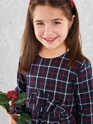 画像1: Malvi&Co.(マルヴィ) リボンワンピース(ネイビーチェック) 4歳5歳6歳8歳10歳