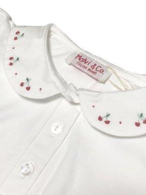 画像1: Malvi&Co.(マルヴィ) コットンジャージポロシャツ(さくらんぼ刺繍) 2歳92cm