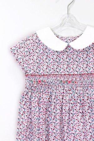 画像1: Isi(イシィ) 襟付き小花柄スモッキングワンピース 18か月〜4歳